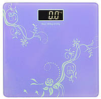 Весы напольные стеклянные (квадратные) на 180 кг Domotec MS-1604 Purple (3272)