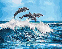 Картина по номерам Дельфины на море, 40x50 см, подарочная упаковка, Brushme (Брашми)