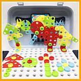 Игровой набор детский конструктор в чемодане болтовая мозаика PAZZLE interest assemble toy 137 PCS, фото 5