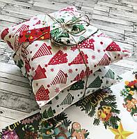 Набор декоративных новогодних мини подушек 2 шт + мешочек в ПОДАРОК, подушка декоративная на Новый Год