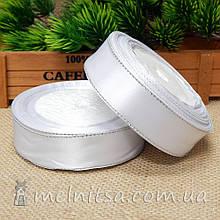 Атласная лента с люреском 2,5 см, белый+серебро