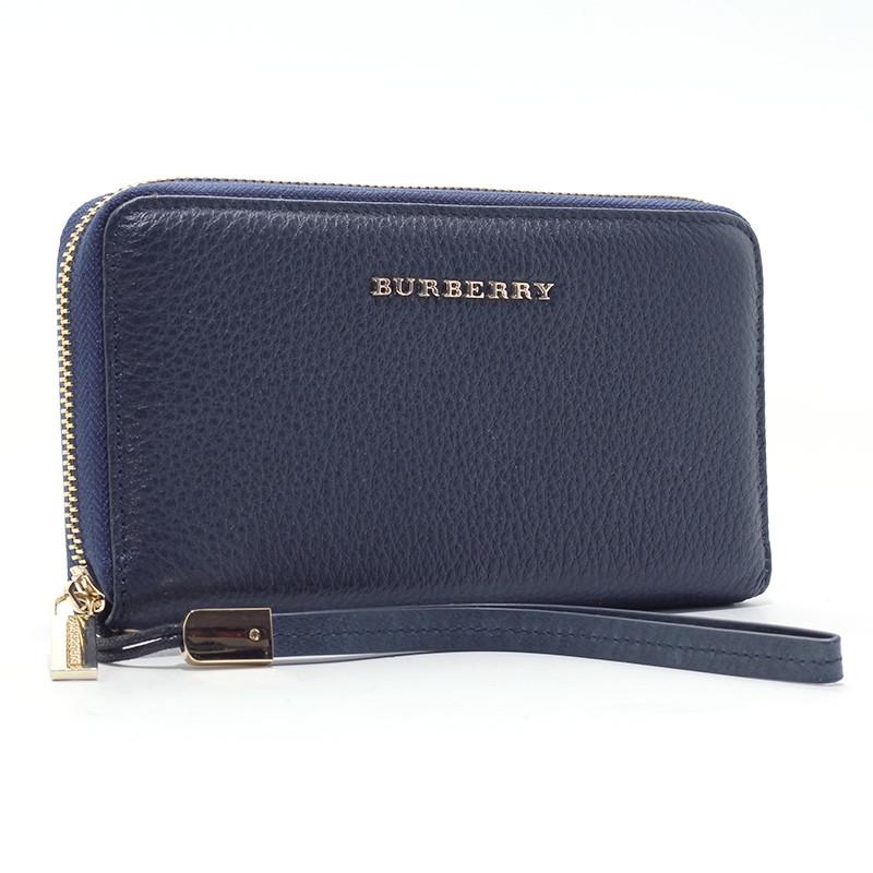 Кошелек кожаный женский на молнии синий Burberry 6021