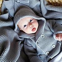 Кардиган Сірий дитячий з капюшоном HappyLittleFox, фото 1