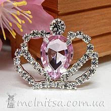 Стразовый декор Корона, 30*36 мм, св.розовый камень
