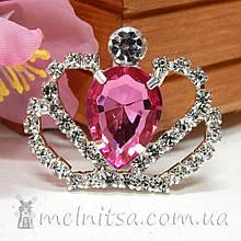 Стразовый декор Корона, 30*36 мм, малиновый камень