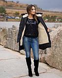 Женская зимняя куртка пуховик теплая синяя черная на овчине 48-50 52-54 56-58 60-62 большого размера, фото 2