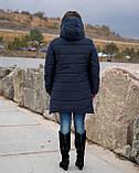 Женская зимняя куртка пуховик теплая синяя черная на овчине 48-50 52-54 56-58 60-62 большого размера, фото 4