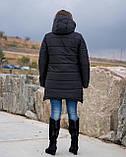 Женская зимняя куртка пуховик теплая синяя черная на овчине 48-50 52-54 56-58 60-62 большого размера, фото 5