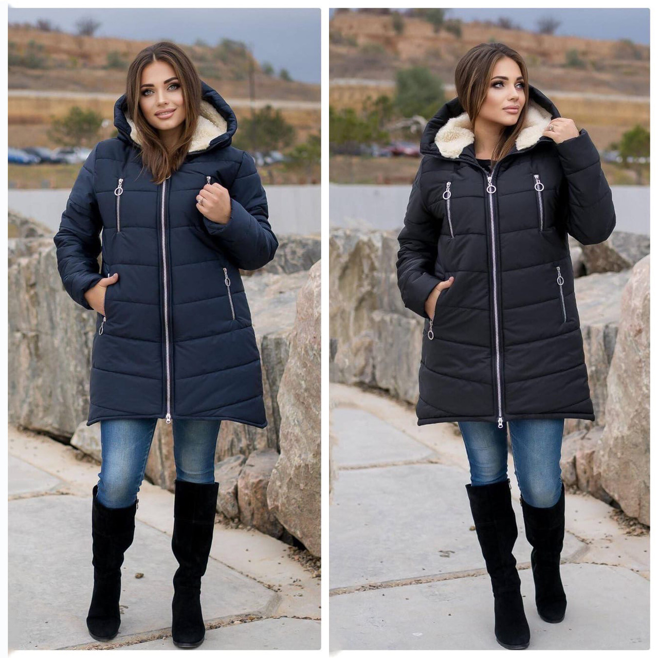 Женская зимняя куртка пуховик теплая синяя черная на овчине 48-50 52-54 56-58 60-62 большого размера