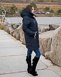 Женская зимняя куртка пуховик теплая синяя черная на овчине 48-50 52-54 56-58 60-62 большого размера, фото 3