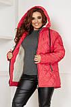 Куртка зимняя теплая бордовая черная серая мятная синяя коралл на овчине 48-50 52-54 56-58 большого размера, фото 4