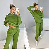Женский зимний спортивный костюм двойка черный зеленый фиолетовый желтый 42-44 46-48 oversize хлопок хит, фото 3