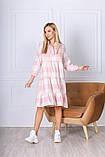 Женское зимнее платье в клетку удлиненное мятное розовое пудровое зеленое красное 42-44 44-46 46-48 на байке, фото 4