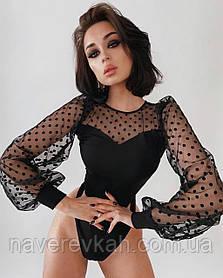 Женский нарядный боди черный на новый год под юбку брюки джинсы 42-44 46-48 красивый с сеткой в горошек хит