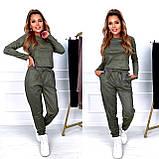 Женский костюм двойка осенний зимний замшевый бежевый зеленый хаки 42-44 44-46, фото 2