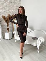 Платье женское нарядное с блестками чёрное 42-44,46/48