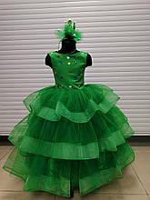 Зеленое длинное пышное платье Ёлочка-Катрин 110-116