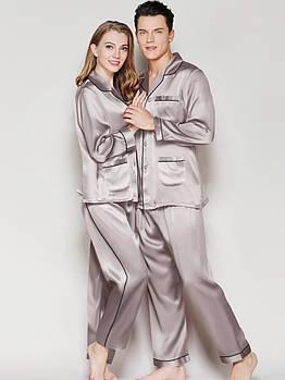 Пижамы парные шелковые Family Look серые  он и она ( размеры 42-54 XS-XXL)