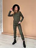 Костюм женский брючный замшевый стильный бежевый, хаки 42-44,44-46, фото 5