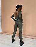 Костюм женский брючный замшевый стильный бежевый, хаки 42-44,44-46, фото 2