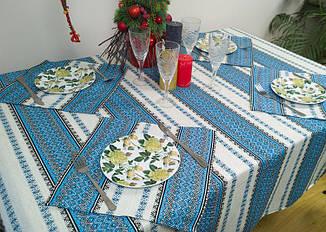 Новогодняя скатерть с народным орнаментом 180х145 см, + 6 салфеток, синий