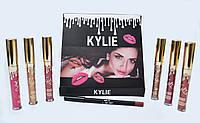 Набор жидких матовых помад Kylie от Кайли Дженнер 6 штук + карандаш для губ Black, фото 1