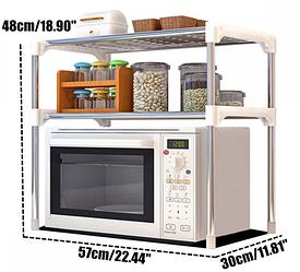 Настольный кухонный стеллаж под микроволновку с полками для посуды специй, Этажерка для микроволновки 2 яруса