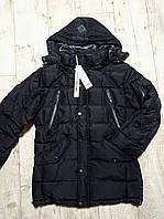 Куртка мужская зимняя черная, утеплитель холлофайбер. Пуховик мужской
