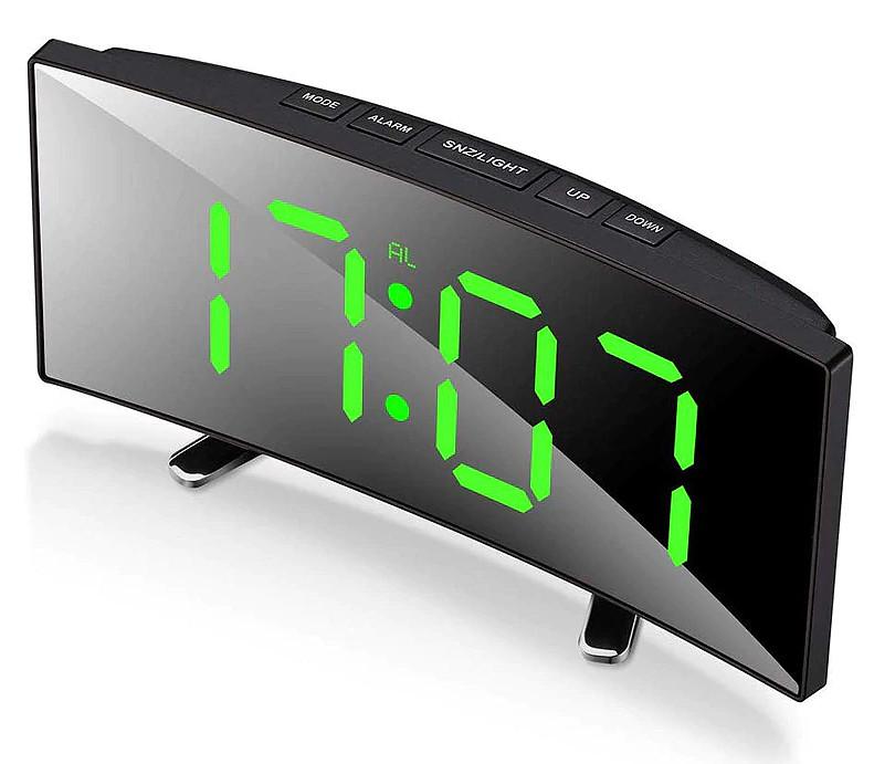 Зеркальные LED часы с будильником и термометром VST DT-6507 Black (зеленная подсветка) (6800)