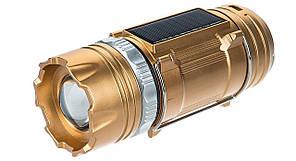 Кемпинговая LED лампа GSH-9688 c фонариком и солнечной панелью Gold (3626)