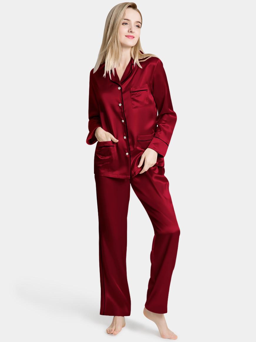 Пижама женская шелковая  с длинным рукавом бордо