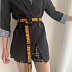 Длинный женский пояс черный  ремень с надписью lovememore ретро винтажный в стиле 90-х, фото 2