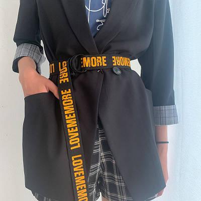 Длинный женский пояс черный  ремень с надписью lovememore ретро винтажный в стиле 90-х