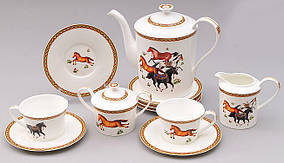 Набор 15 предметов: 6 чашек + 6 блюдец + чайник + молочник + сахарница BonaDi 529-H14