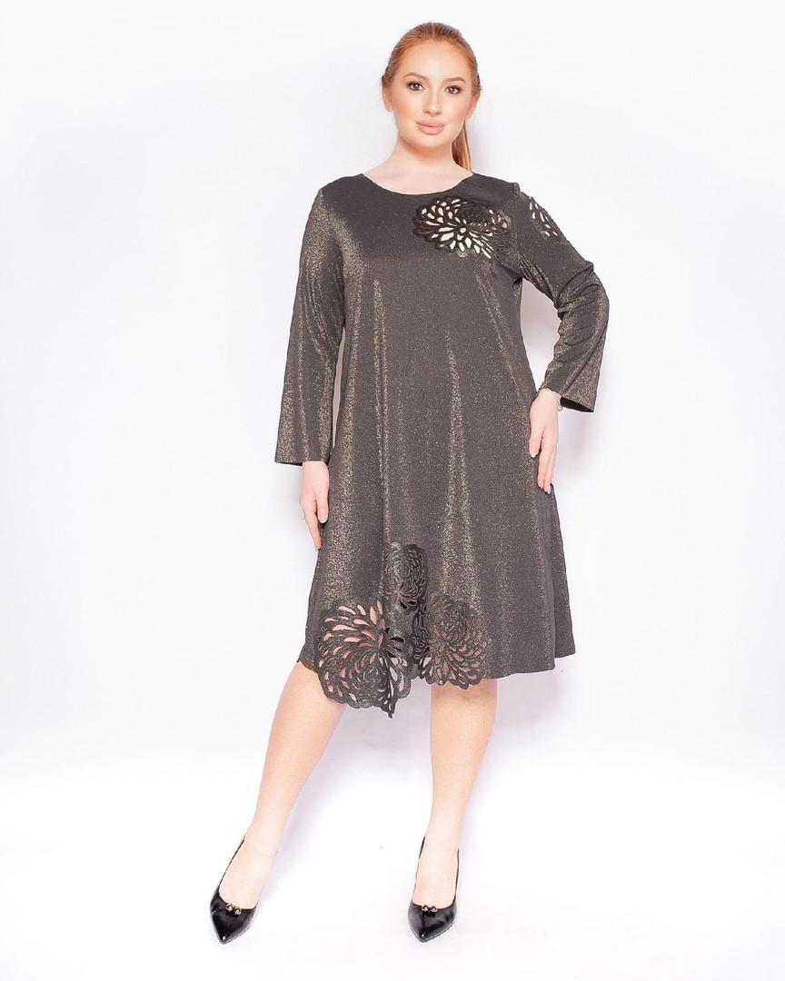 Женское люрексовое нарядное платье-трапеция с перфорацией. Размеры:50,52,54,56