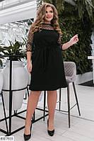 Стильное однотонное платье из креп-дайвинга с вышивкой на сетке с блеском р: 48-50, 52-54, 56-58 арт. 214