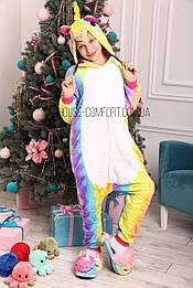 Костюм кигуруми пижама радужный единорог для взрослых и детей, кигуруми оптом