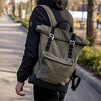 Рюкзак мужской городской Roll top AMER зеленый, мужской рюкзак городской роллтоп, Рюкзак ролл canvas брезент