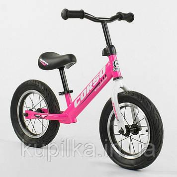 """Велобег (беговел) Corso 63908 надувные колеса, колесо 12"""", розовый"""