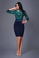 Модное платье женское верх украшен цветочным принтом и брошью