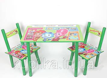 Набор детской деревянной мебели Столик + 2 стульчика Фиксики