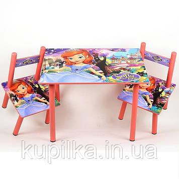 Набор детской деревянной мебели Столик+2 стульчика Принцесса София