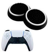 Силиконовые накладки для джойстика PS5 DualSense черные с белой окантовкой 2 шт. (Черкассы)