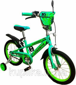 Двухколесный детский велосипед 16 дюймов Like2bike Sprint 191633 Зелёный