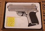 Игрушечный пневматический пистолет ZM01 на пульках, корпус метал-пластик, фото 3
