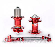 Втулки Novatec D041SB+D042SB, красные, перед+задняя, 32 отв.