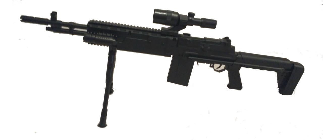 Игрушечный автомат P.1160 с пистолетом 2 в 1, сошки, лазер, фонарь, прицел, пистолет, детское оружие
