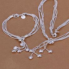Комплект прикрас ланцюжок і браслет, вкриті сріблом код 1984