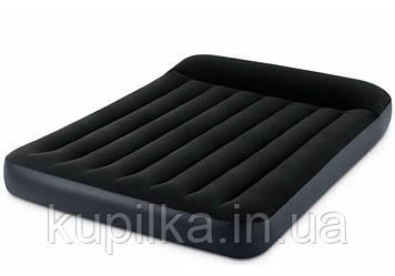 Надувной, велюровый, полуторный матрас Intex 64148 с подголовником 137x191x25 см, встр электронасос, темный