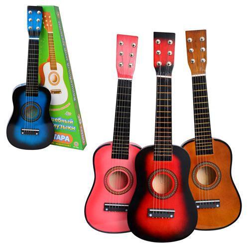 Гитара с настройкой струн + медиатр, деревянная гитара 1369